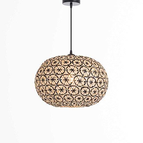 Lámpara de Techo Colgante de Bambú y Hierro Boho Rústica Color Natural y Negro | Modelo Bay 7hSevenOn Deco | Lámpara de Techo Salón, Dormitorio. | Lámpara 40x40x25cm