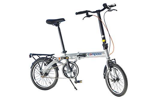 Compass Faltrad 16 Zoll Aluminium, Klapprad, Klappfahrrad, extrem leicht und robust Farbe grau