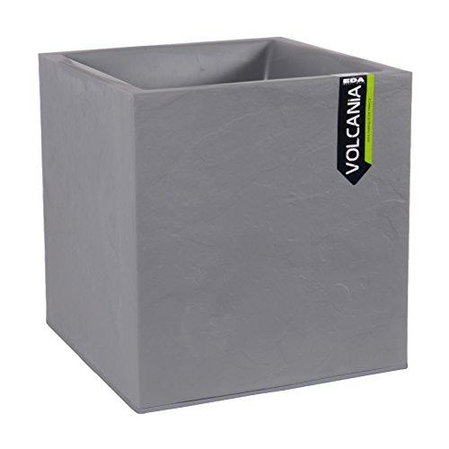 'EDA plastiche Vaso Quadrato Volcania Decorazione Pietra Grigio Galet–39x 39x 43-31L