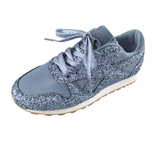 Dorical Damen Pailletten Glitzer Sneaker Frauen Elegant Laufschuhe Outdoor Freizeitschuhe Sportschuhe Stoffschuhe Atmungsaktiv Schnürschuhe Gr 36-43(Silber,39 EU)