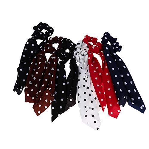 Lurrose - 6 unidades de coleteros de pelo de lazo con lunares clásicos elásticos para el pelo, bufanda de satén elegante para mujeres