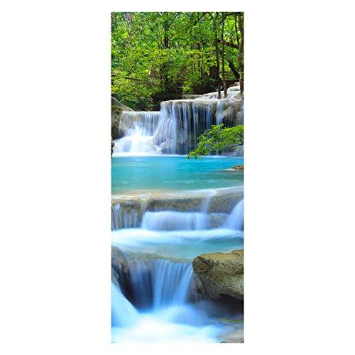wandmotiv24 Türtapete Wasserfall im Wald 80 x 200cm (B x H) - Dekorfolie selbstklebend Sticker für Türen, Tür-Bilder, Aufkleber, Deko Wohnung modern M0485
