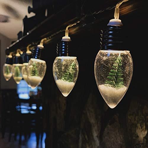 Cadena de Luz para Navidad Guirnalda de Luces Navideños Bombillas de Nieve y Árbol Lámpara LED Interior y Exterior Decoración Luminosa Iluminación Decorativa para Árbol de Navidad 0,8M Blanco Cálido