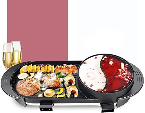 Hot Pot Cooker of koekenpan, 2 in 1 Multi-Function Smokeless Barbecue Hot Pot Braden Cook Grill Indoor Korean Barbecue Hot Pot gemakkelijk schoon te maken