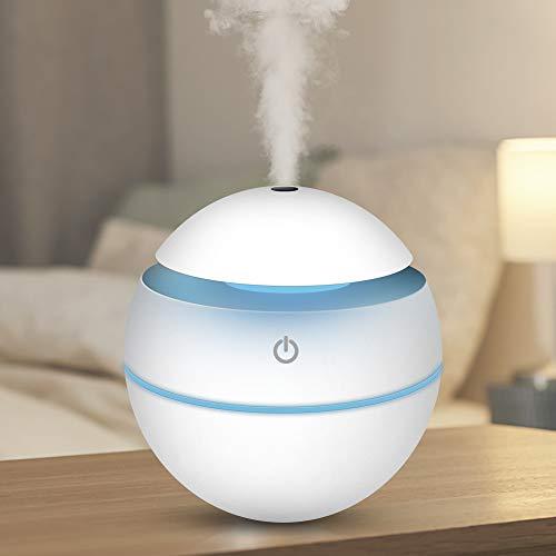 TOGETOP USB Mini Ultraschall Air Luftbefeuchter, Ultra Leise Raumluftbefeuchter Kühlnebelbefeuchter, Humidifier für Büroraum, Schlafzimmer usw, Kleiner Luftreiniger mit 7-Farben-LED-Licht (Weiß)