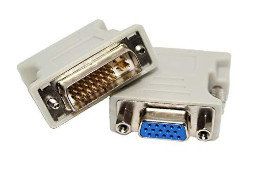Adaptador de DVI-I Dual-Link 24 Pin + 1 Macho a VGA Hembra 15 Pin con Tornillos - Convertidor Señal Video