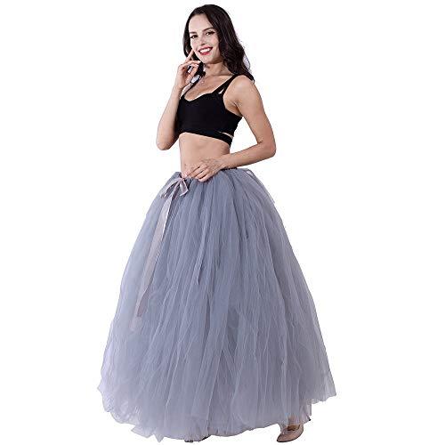 Women's Floor Length Puffy Tutu Tulle Skirt Fairy Fancy Dress Wedding Party Porm Long Skirts (Grey)