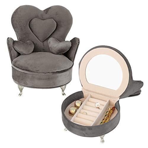 Schmuckkästchen 'Sessel' mit Spiegel 24x9,5x13,4cm Grau...