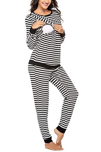 MAXMODA Ropa Premamá Lactancia Pijama Conjunto Maternidad Invierno Pijama Premamá Embarazo S-XXL