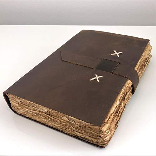 Echtes Vintage-Leder-Tagebuch, Büttenrand, Papier-Tagebuch, Notizbuch, Geschenk für Sie und Ihn