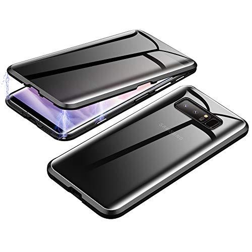 Jonwelsy Anti-Spy Handyhülle für Samsung Galaxy S10, 360 Grad Schutz Case, Privatsphäre Gehärtetes Glas Anti-Spähen Cover, Stark Magnetische Adsorption Metallrahmen Hülle für Galaxy S10 (Schwarz)