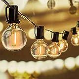 Svater Lichterkette Außen,11 Mete Lichterkette Gluehbirne Aussen,[Verbesserte Version] G40 Lichterkette Garten, Wasserdicht 20 Birnen [Energieklasse A+]