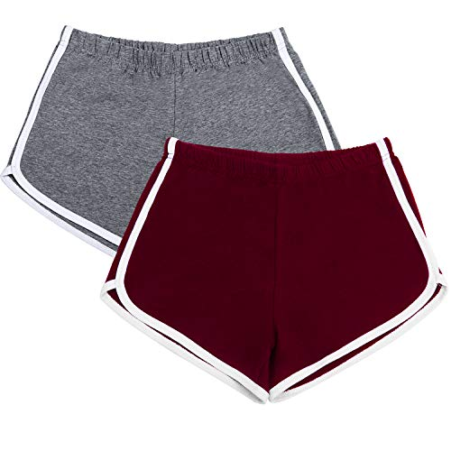 URATOT 2 Pack Cotton Sports Shorts Yoga Short Pants Summer Running Athletic Shorts Women Dance Gym Workout Elastic Waist Shorts