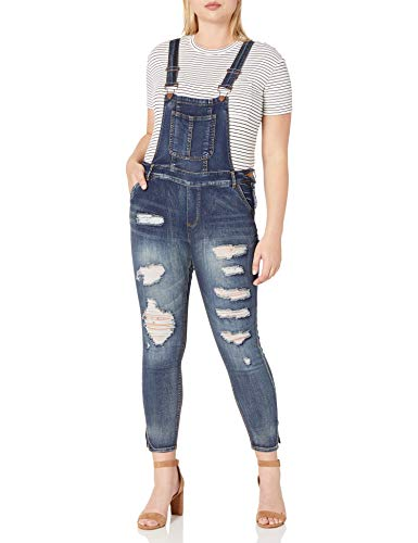 dollhouse Women's Plus Size Destructed Skinny Overall, Blizzard Blue, 16W