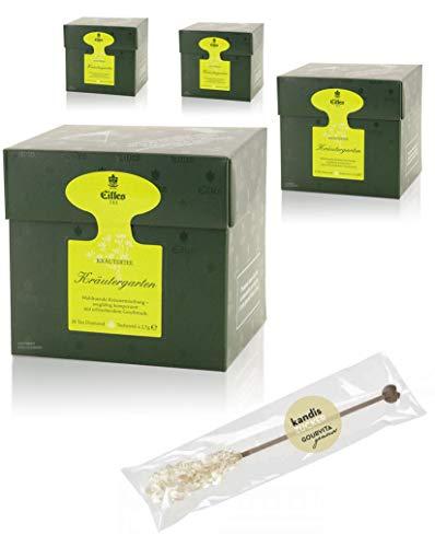 EILLES Tea Diamonds Kräutergarten Mega-Sparset mit 4 Boxen und gratis Kandisstick von Gourvita Moments