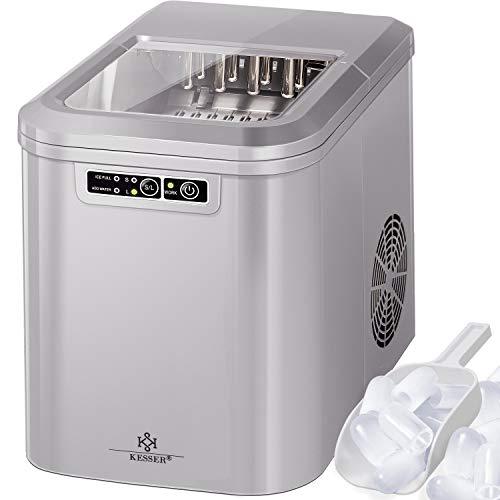 KESSER® Eiswürfelbereiter | Eiswürfelmaschine Edelstahl | Ice Maker | 12 kg 24 h | Zubereitung in 7 min | 2,2 Liter Wassertank | 2 Eiswürfel-Größen | LED-Display | Selbstreinigungsfunktion | (Silber)