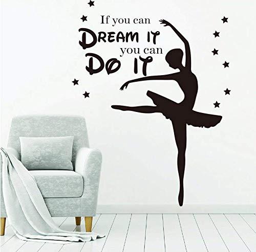 Als u eraan kunt denken, kunt u het doen citaat dans wandtattoo kinderkamer meisjeskamer balletje yoga inspirerend citaat 56 x 43 cm