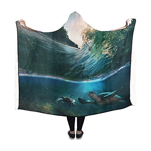 Yushg Mit Kapuze Decke Tropical Paradise Vorlage Sonnenlicht Ocean Surfing Decke 60 x 50 Zoll Comfotable Hooded Throw Wrap