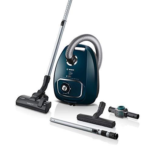 Bosch Staubsauger mit Beutel Cosyy'y ProFamily Serie 4 BGLS4A444, Bodenstaubsauger, ideal für Allergiker, Hygiene-Filter, für Parkett, Teppich, Fliesen, langes Kabel, 700 W, blau