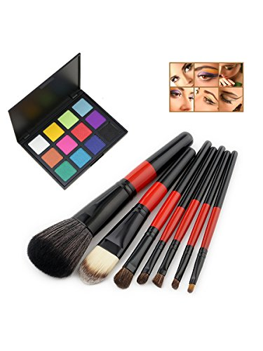 LPWORD 7 Pcs/Set Maquillage Brush Set Fondation Ombre À Oeil Sourcils Crayon Crayon Eyeliner Lip Brush Maquillage Beauté Outil + 9 Couleurs Palette D'ombres À Paupières