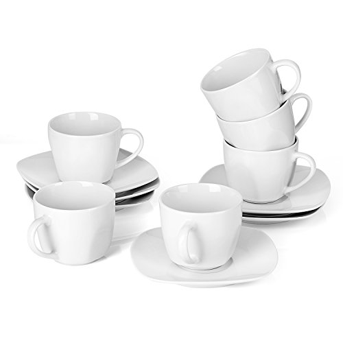 MALACASA, Serie Elisa, 24 TLG. Set CremeWeiß Porzellan Kaffeeservice Teeservice, je 12x Kaffeetassen mit 12x Untertassen für 12 Personen