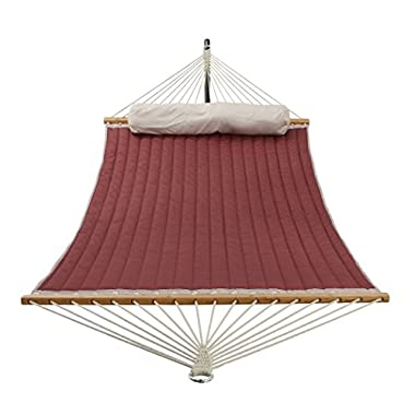 Patio Watcher 11 Feet Quilted Fabric Hammock with Pillow, Double Hammock with Bamboo Wood Spreader Bars, Perfect for Outdoor Patio Yard, Dark Red