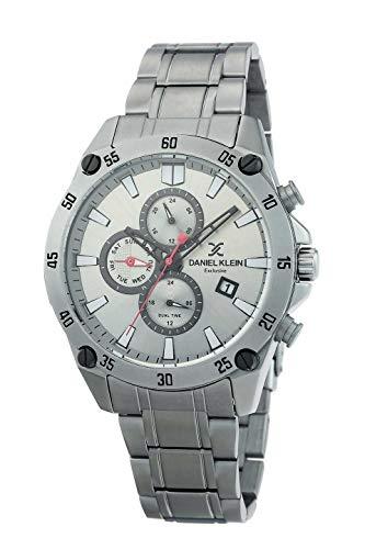 Daniel Klein Reloj de pulsera para hombre (DK12302) – acero inoxidable – 45 mm analógico relojes de moda para hombre – Multifunción – Movimiento de cuarzo japonés – Doble hora – muchos colores