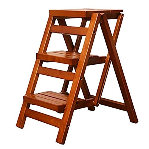 BENCONO Wood 3 Step Stool for Adults Indoor Folding Stepladder Kitchen Wooden Ladders Foot Stools Portable Shoe Bench/Flower Rack