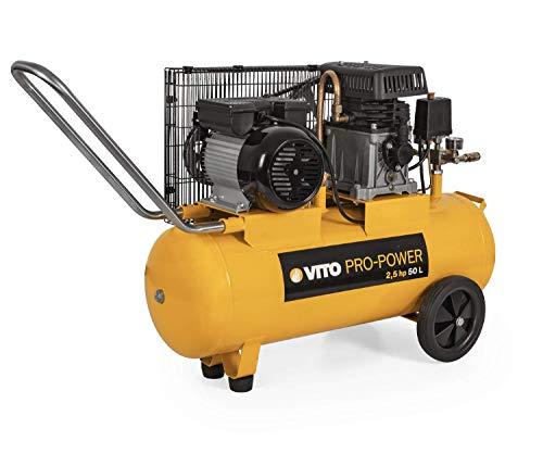 VITO Professional 1850W 2.5PS 50L 12 bar max. Druckluftkompressor mit Ölschmierung, Druckminderer, Manometer + 2 Schnellkupplung, Rückschlagsventil Sicherheitsventil 233L/Min - 50 Liter Kompressor