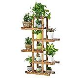 soporte de plantas Estantes de Flores Plant Stand Estante del almacenamiento de la maceta de la exhibición de la flor de la planta del soporte de la planta del pedestal de madera de 6 gradas para al a