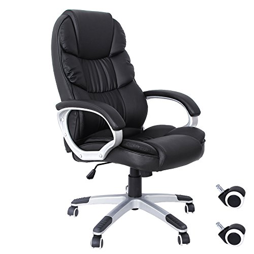 SONGMICS Bürostuhl Chefsessel Drehstuhl Computerstuhl SGS EN12520 Sitzhöhenverstellung office...