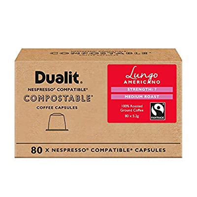 Nespresso Compatible Lungo Americano Compostable Capsules By Dualit - 80 Pack - 80 Servings of Eco Friendly, Fairtrade Coffee Pods - 100% Compostable Capsules