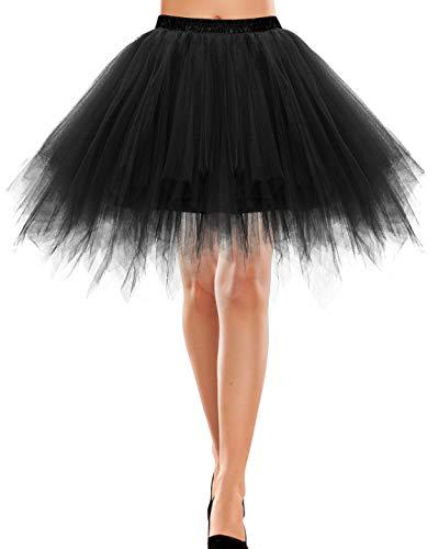 Bbonlinedress Rock tüllrock Damen Tutu Tüllrock Crinoline Cosplay Rock Rockabilly Tanz Ballett Kostüme Karneval kostüm Damen Fastnacht Fasching Black S