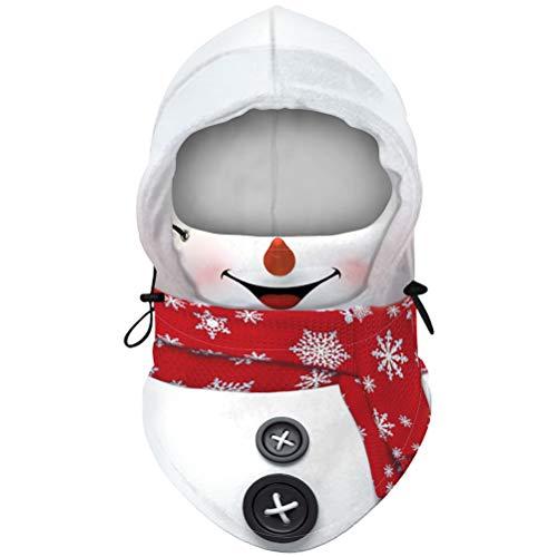 Ourine Navidad impresión cara cubierta pasamontañas cuello polaina ajustable cara bufanda pasamontañas para hombre mujer