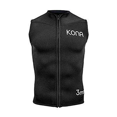 Kona Mens Zipper Diving Vest Wetsuit Top Premium Neoprene 3mm - Black