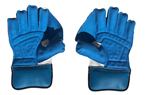 SS Catcher Premium Cricket Wicket Keeping Gloves (Cotton Inner Gloves Included), Mens Size (Blue)