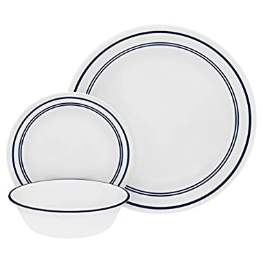 Corelle 18 Piece Classic Cafe Blue  Livingware Dinnerware Set, White