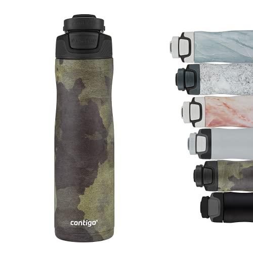 Contigo Trinkflasche Autoseal Couture, Edelstahl Wasserflasche mit Autoseal Technologie, 100% auslaufsicher, Isolierflasche hält Getränke bis zu 28 Stunden kalt, BPA-frei, 720 ml, Textured Camo