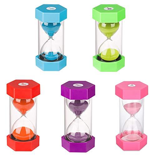 Sanduhr für Kinder, Sanduhr, Timer, Sanduhr, Sanduhr, bunt, Sanduhr, Küchentimer, Zeitanzeige, inkl. 1 Minute, 3, 5, 10 und 30 Minuten (5 Stück)