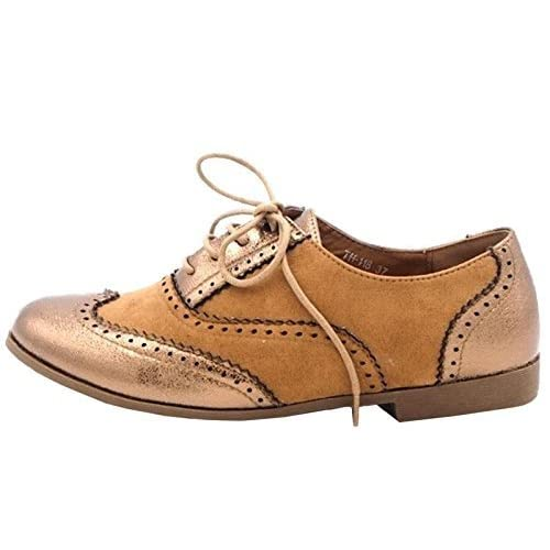 8ec7a2af8aa2 Womens Ladies Flat Lace Up Vintage Brogue Office Work Fashion Pumps Shoes -  G33