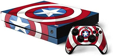 Skinit Decal Gaming Skin Compatible with Xbox One X Console and Controller Bundle - Officially Licensed Marvel/Disney Captain America Emblem Design