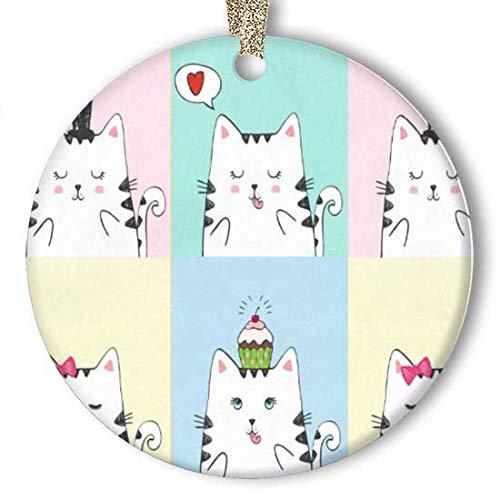 EaYanery - Figura decorativa decorativa de cerámica, diseño de gatos blancos