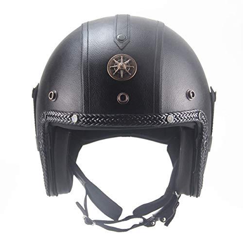 IAMZHL Helme 3/4 MotorradFahrradhelm Vintage Motorradhelm mit offenem Gesicht und Schutzbrillenmaske-2058 Black BZ-0-S