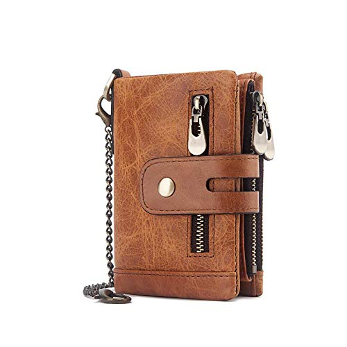 Huachaoxiang Herren-Geldbörse, schützende Leder-Geldtasche mit Kette, doppelt gefaltete Geldbörse mit Münzfach, Reißverschluss, Geldbörse, Papiertaschen, Portmone, Orange