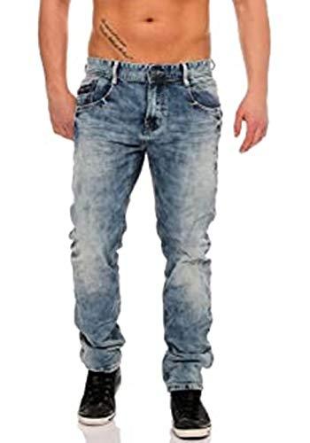 M.O.D Herren Jeans Carl Tapered Fit Jeans Carl hellblau Stonewashed Slim Straight (Malta Blue 1834) (40/32)