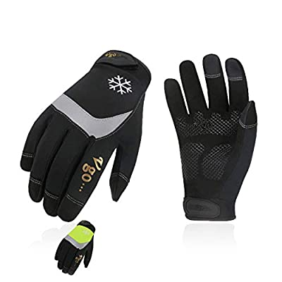 Vgo 2Pairs 32? or Above 3M Thinsulate C40 Lined High Dexterity Touchscreen Synthetic Leather Winter Warm Work Gloves,Waterproof Insert (Size L, Black+Fluorescent Green,SL8775FW)