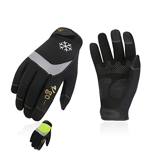 Vgo 2Pairs 32℉ or Above 3M Thinsulate C40 Lined High Dexterity Touchscreen Synthetic Leather Winter Warm Work Gloves,Waterproof Insert (Size M, Black+Fluorescent Green,SL8775FW)