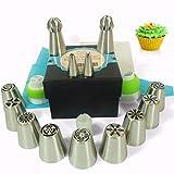 Wenburg 38pzs Traje de Consejos de Pastelería: 9 boquillas rusas grandes, 2 puntas de bolas, 2 boquillas de hoja, 3 acopladores, 20 mangas pasteleras, bolsa de silicona/Flores: tulipán, rosa