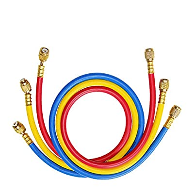 "beduan 3-Color R134a AC Charging Hose 1/4"" SAE Thread x 60"" Length HVAC Air Conditioning Refrigeration Charging Hose Tube R12 R22 R502"