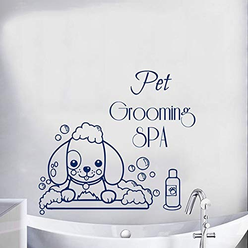 Pet Grooming Spa pared calcomanía perro de dibujos animados baño puerta ventana vinilo pegatina tienda de mascotas decoración interior lindo papel tapiz